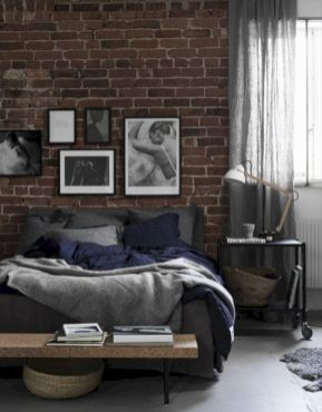 Modern faux brick wall art design decorating ideas for your bedroom 40