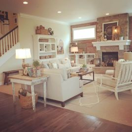 Awesome big living room design ideas with stairs 14