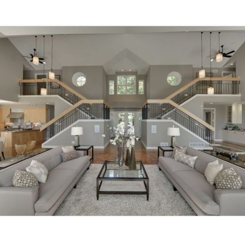 Awesome big living room design ideas with stairs 18