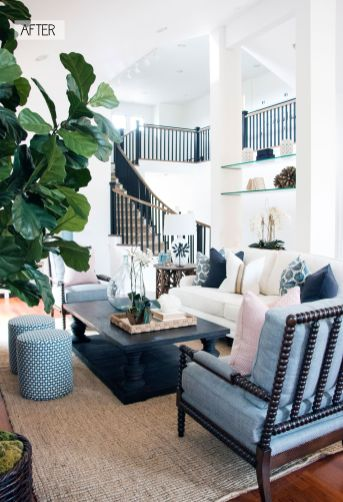 Awesome big living room design ideas with stairs 49