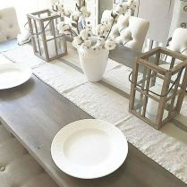 Comfy formal table centerpieces decorating ideas for dining room 51