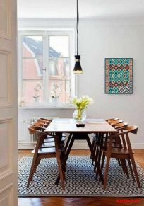 Cute dining room rug decorating ideas 11