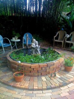 Elegant backyard landscaping ideas using bricks 04