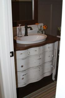 Elegant bowl less sink bathroom ideas 06