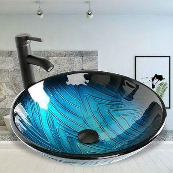 Elegant bowl less sink bathroom ideas 12