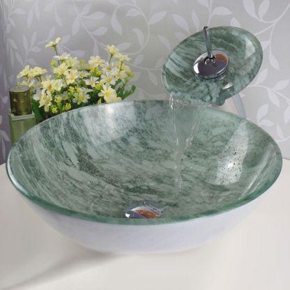 Elegant bowl less sink bathroom ideas 14