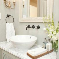 Elegant bowl less sink bathroom ideas 22