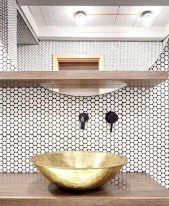Elegant bowl less sink bathroom ideas 27