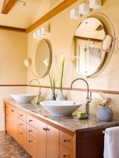 Elegant bowl less sink bathroom ideas 34