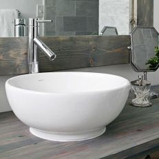 Elegant bowl less sink bathroom ideas 35