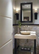 Elegant bowl less sink bathroom ideas 46
