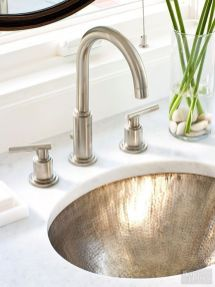Elegant bowl less sink bathroom ideas 51