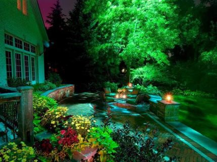 Gorgeous night yard landscape lighting design ideas 04