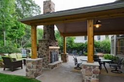 Romantic rustic outdoor kitchen designs with fireplace 01