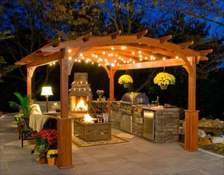 Romantic rustic outdoor kitchen designs with fireplace 05