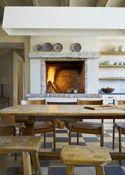 Romantic rustic outdoor kitchen designs with fireplace 12
