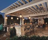 Romantic rustic outdoor kitchen designs with fireplace 19
