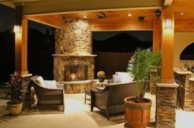 Romantic rustic outdoor kitchen designs with fireplace 51