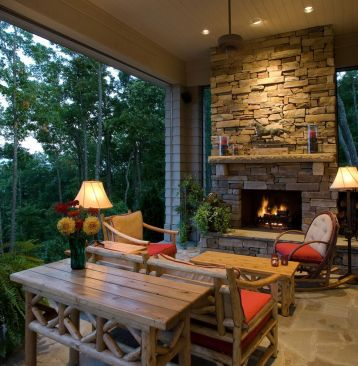 Romantic rustic outdoor kitchen designs with fireplace 52