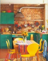Colorful brick wall design ideas for home interior ideas 11