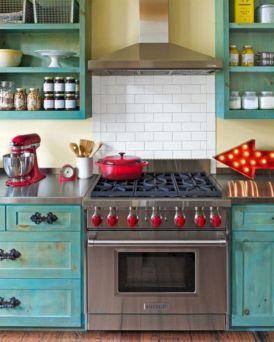 Cozy color kitchen cabinet decor ideas 38