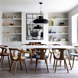 Elegant industrial metal chair designs for dining room 17