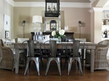 Elegant industrial metal chair designs for dining room 26