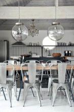 Elegant industrial metal chair designs for dining room 40