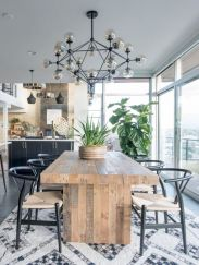 Elegant industrial metal chair designs for dining room 54