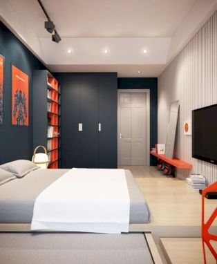Modern tiny bedroom with black and white designs ideas for small spaces 07