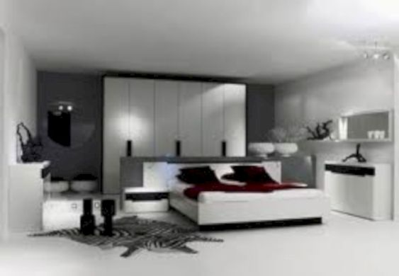 Modern tiny bedroom with black and white designs ideas for small spaces 16