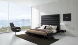 Modern tiny bedroom with black and white designs ideas for small spaces 18