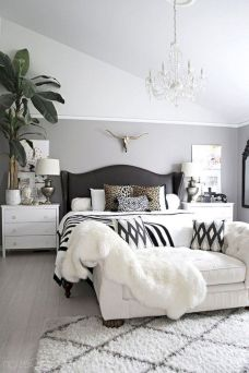 Modern tiny bedroom with black and white designs ideas for small spaces 38