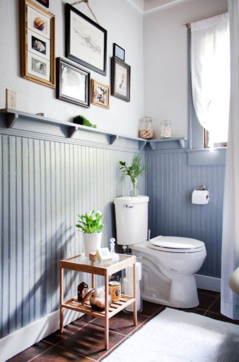 Shabby chic blue shower tile design ideas for your bathroom 04