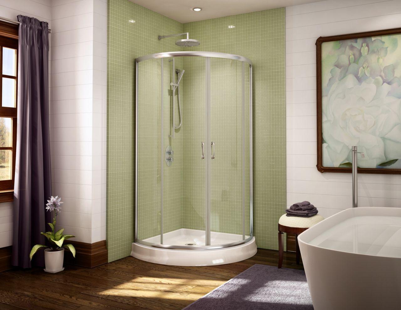 Shabby chic blue shower tile design ideas for your bathroom 07