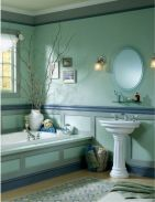 Shabby chic blue shower tile design ideas for your bathroom 08