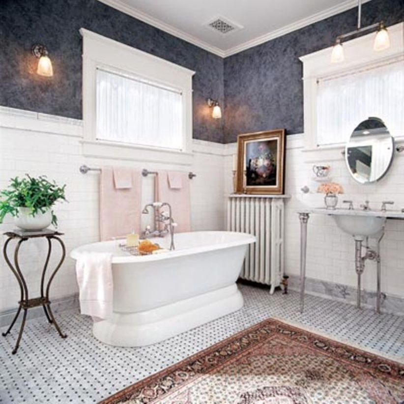 Shabby chic blue shower tile design ideas for your bathroom 09