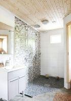 Shabby chic blue shower tile design ideas for your bathroom 13