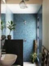 Shabby chic blue shower tile design ideas for your bathroom 19