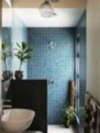 Shabby chic blue shower tile design ideas for your bathroom 19