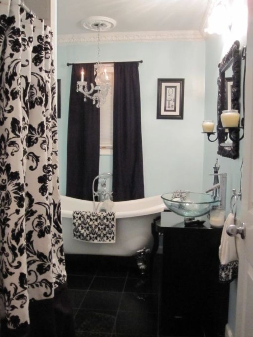 Shabby chic blue shower tile design ideas for your bathroom 21