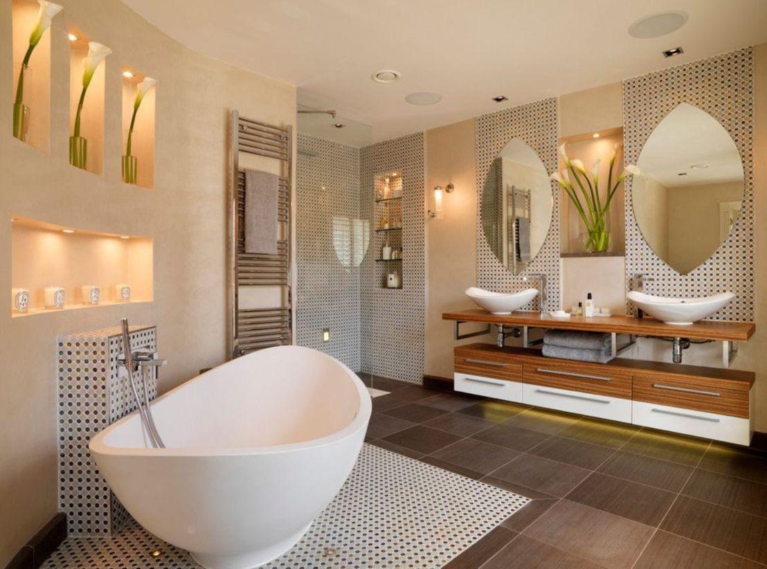 Shabby chic blue shower tile design ideas for your bathroom 30