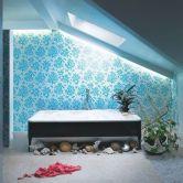 Shabby chic blue shower tile design ideas for your bathroom 34