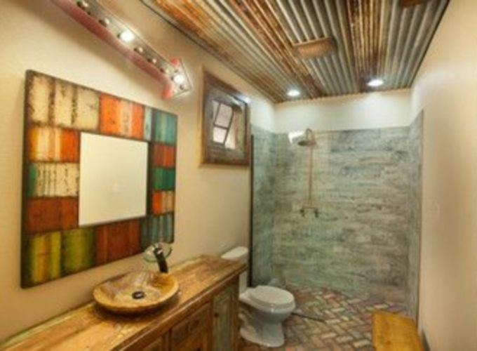 Shabby chic blue shower tile design ideas for your bathroom 35