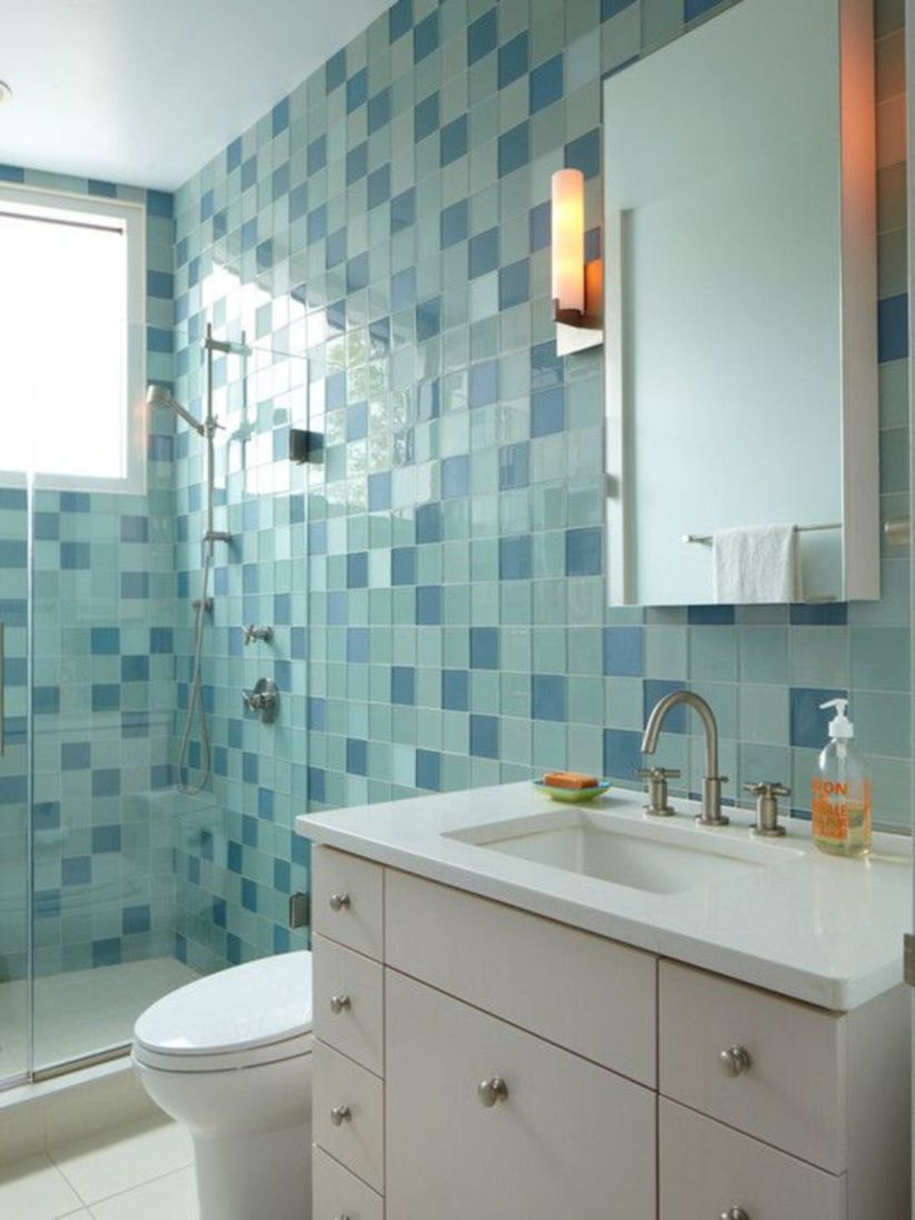 Shabby chic blue shower tile design ideas for your bathroom 36