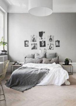 Unique white minimalist master bedroom design ideas 06