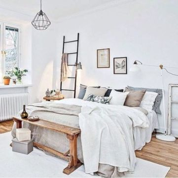 Unique white minimalist master bedroom design ideas 08