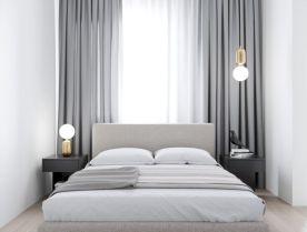 Unique white minimalist master bedroom design ideas 14