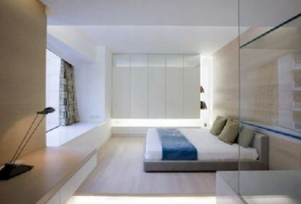Unique white minimalist master bedroom design ideas 25