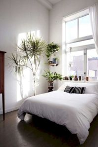 Unique white minimalist master bedroom design ideas 29
